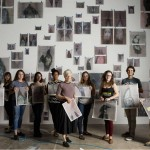 The installation team, from left to right: Elizabeth Mesh, Sage Sommer, Tegan Whitney, Haley Jones, Florence Cunningham, Ann Hamilton (artist), Emma Goos, Sarah Rosenthal, Michael Beckhart, and Tim Scott