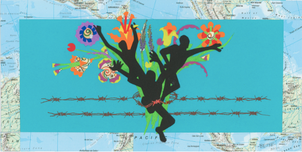 """Bette Yozell, """"Barbed Dreamers,"""" Paper cutting and ink"""