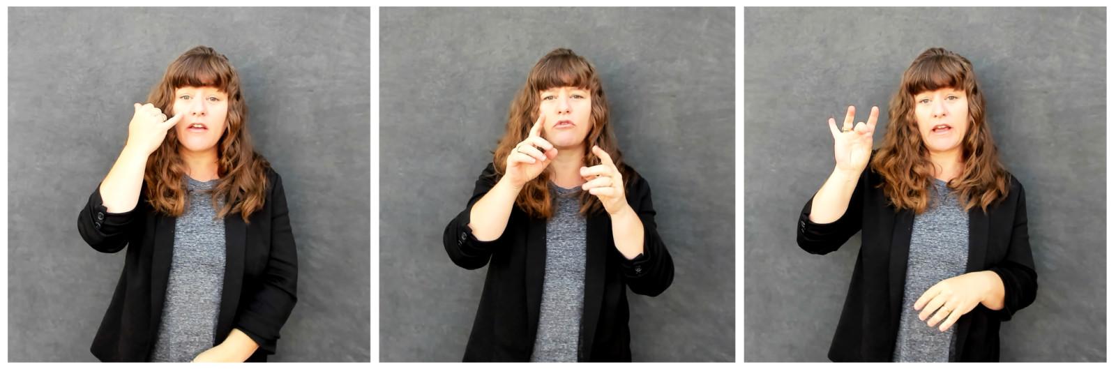 Three frames of video of Megan Interpreting story in ASL