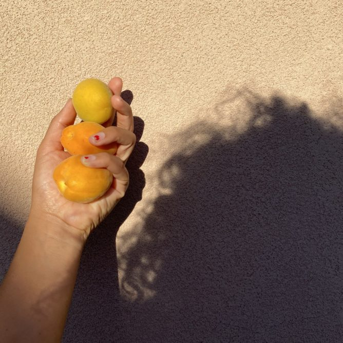 Hand holding three orange fruits in front of stucco background