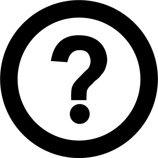 info icon depicting a question mark inside a black circle