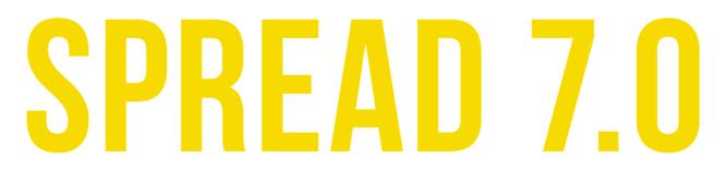Bold, yellow, sans serif letters spellingSpread 7.0
